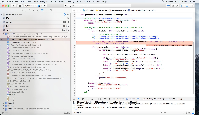 JSONSerialization jsonObject Method Call Not Catching