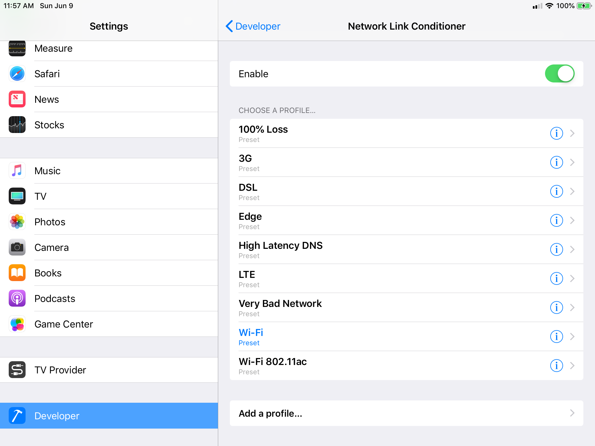 How to test with the Network Link Conditioner in Xcode 11
